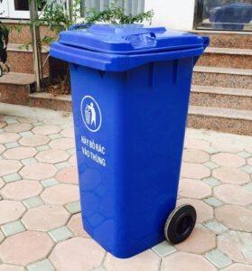 Thùng rác 120 lít màu xanh dương
