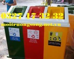 Thùng rác nhựa nắp lật 3 ngăn