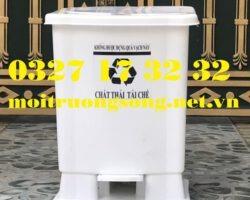 thùng rác y tế 20 lít màu trắng đạp chân