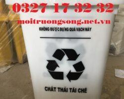Thùng đựng rác tái chế 60 lít màu trắng