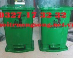 thùng rác nhựa xanh lá 15L đạp chân