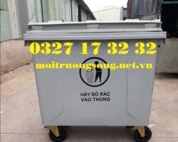 xe thu gom rác 660 lít màu xám nhựa HDPE