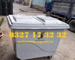 xe thu gom rác 660 lít màu xám