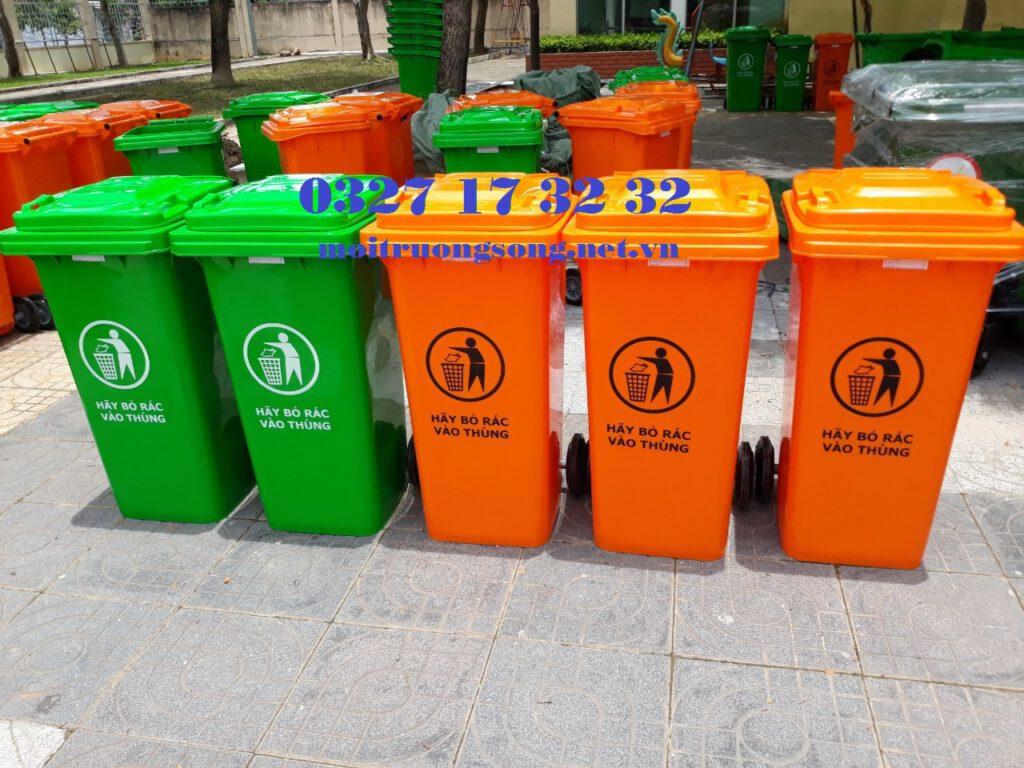 thùng rác màu cam 120L