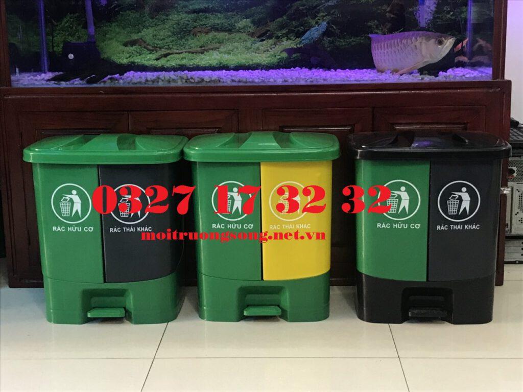Thùng rác 2 ngăn 40 lít, thùng rác phân loại