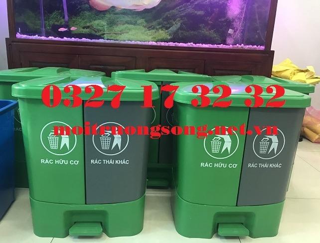 Thùng rác 2 ngăn 40 lít đẹp - rẻ - bền