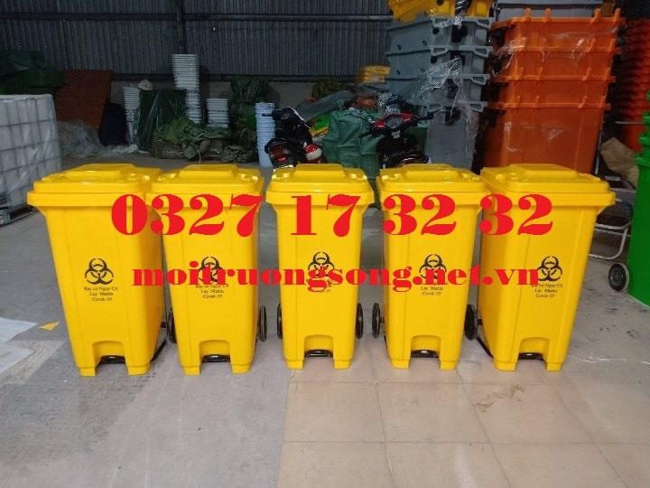 Thùng rác y tế 120 lít màu vàng đạp chân