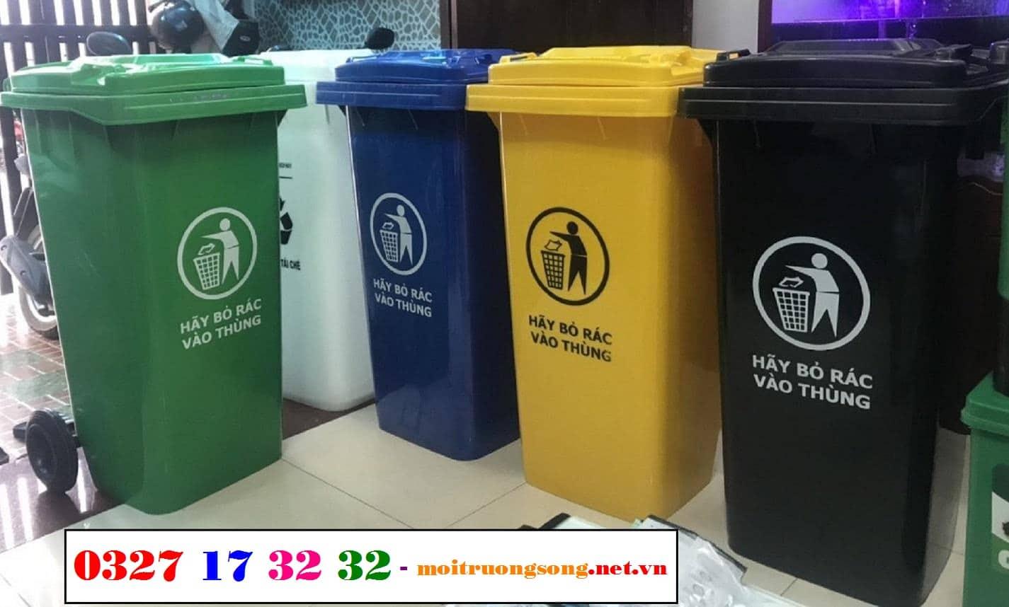 thùng đựng rác ngoài trời 120 lít - thùng rác công cộng