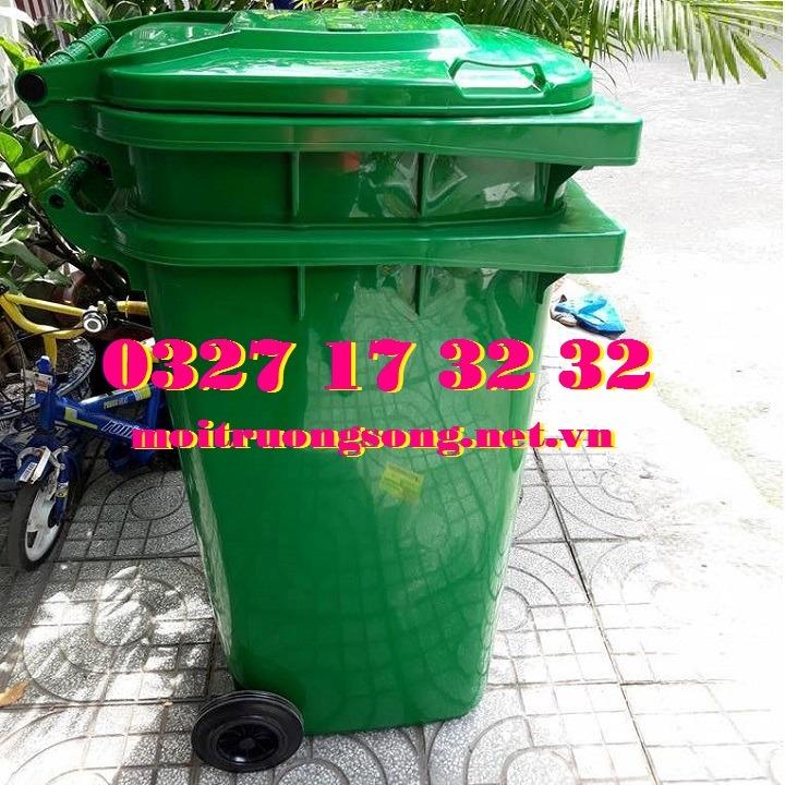 Thùng rác công cộng giá rẻ 240L xanh lá