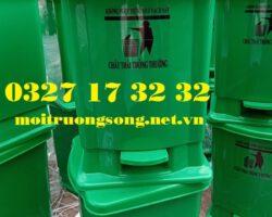 thùng rác y tế màu xanh 20 lít đạp chân