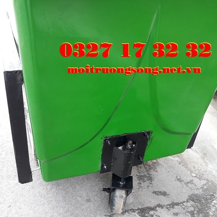 Bánh lái xe đẩy rác nhựa composite 1000L