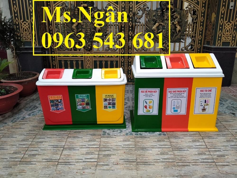 Thùng rác 3 ngăn bằng nhựa composite