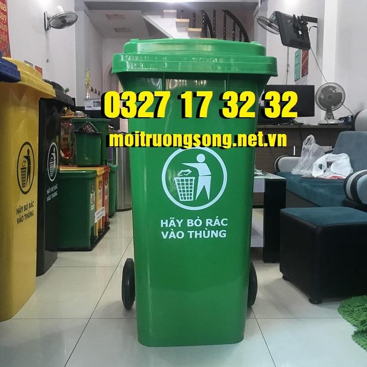Thùng rác công cộng 120l nhựa HDPE