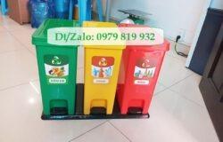 Thùng rác phân loại 3 ngăn đạp chân