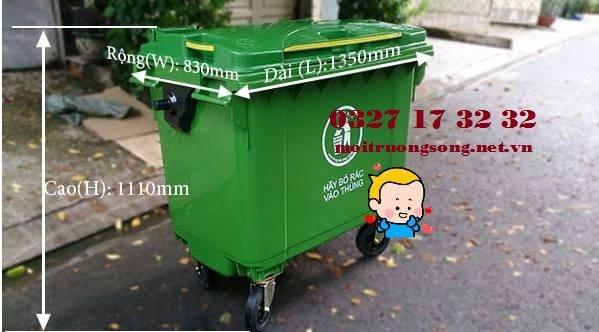 Kích thước thùng rác nhựa 660l