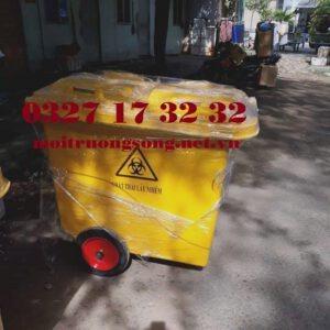 Các loại thùng rác y tế 660l bánh đúc