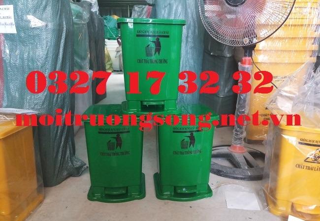 Thùng rác y tế 15 lít xanh lá