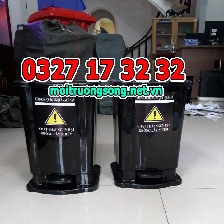 thùng rác y tế 15 lít màu đen