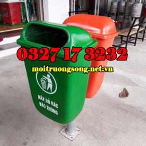 Thùng rác môi trường cọc treo 2 ngăn