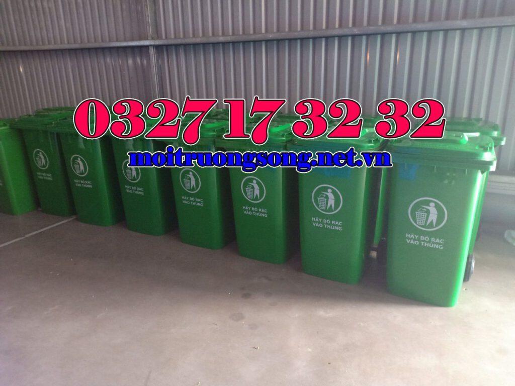 thùng rác công nghiệp 120 lít xanh lá