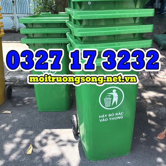 thùng rác công nghiệp 240 lít xanh lá