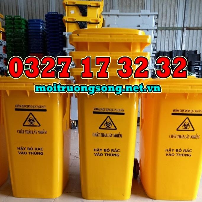 thùng rác công nghiệp 240 lít màu vàng