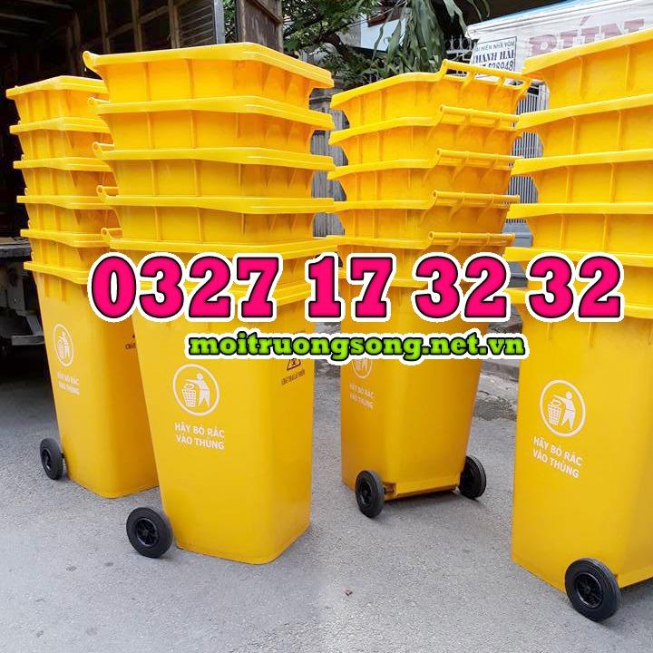 thùng rác công nghiệp 240 lít màu vàng nhựa HDPE