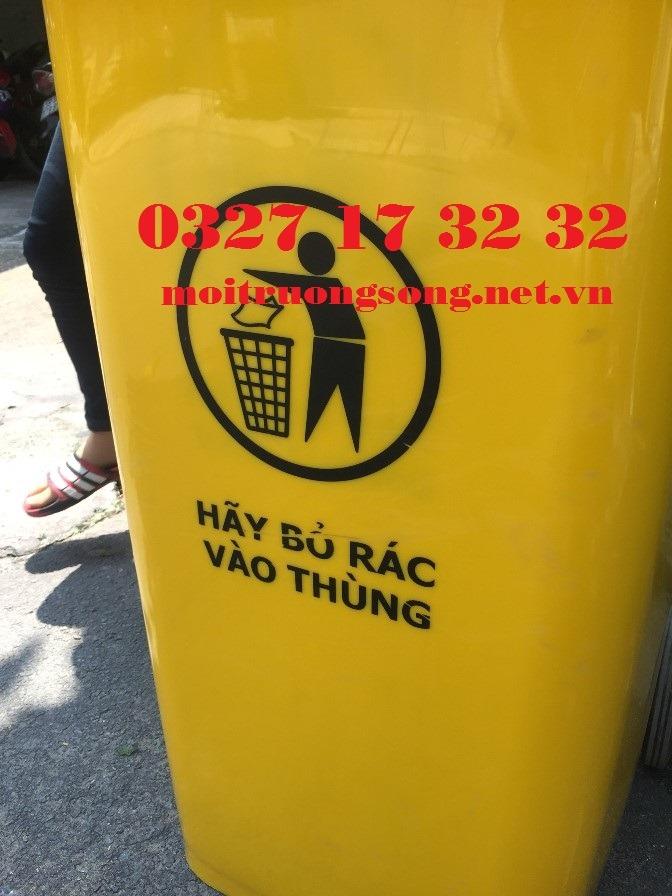 thùng rác công nghiệp 240 lít màu vàng biểu tượng