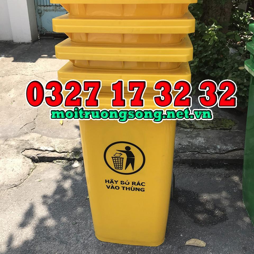 thùng rác công nghiệp 240 lít màu vàng nắp kín