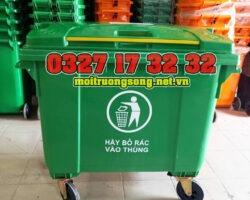 thùng rác công nghiệp 660l xanh lá đại lý