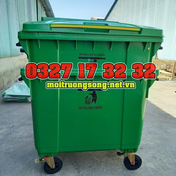 thùng rác công nghiệp 660l xanh lá