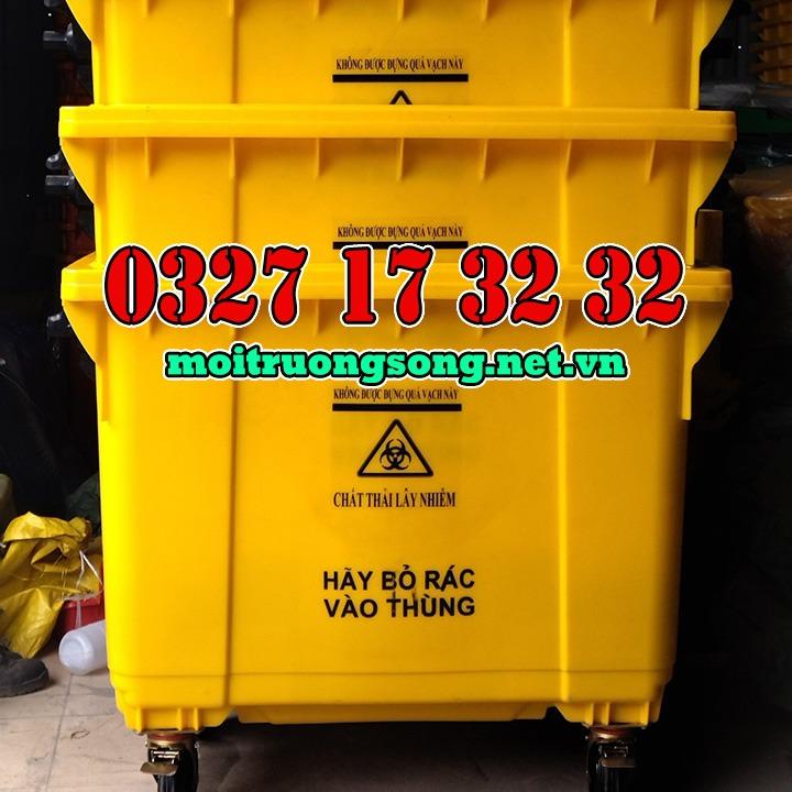 Thùng rác công nghiệp 660l chất thải lây nhiễm