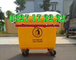 Thùng rác công nghiệp 660l màu vàng