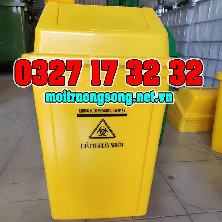 thùng rác nắp lật 60L màu vàng
