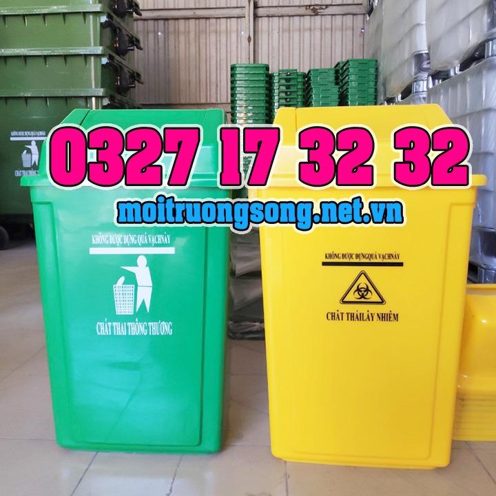 thùng rác nắp lật 60L cho bệnh viện