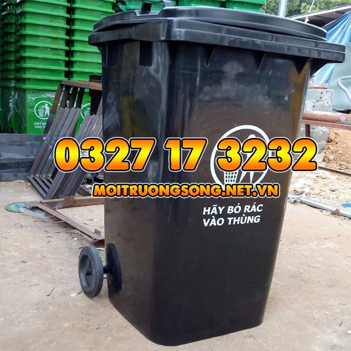 thùng rác 240 lít màu đen nắp kín